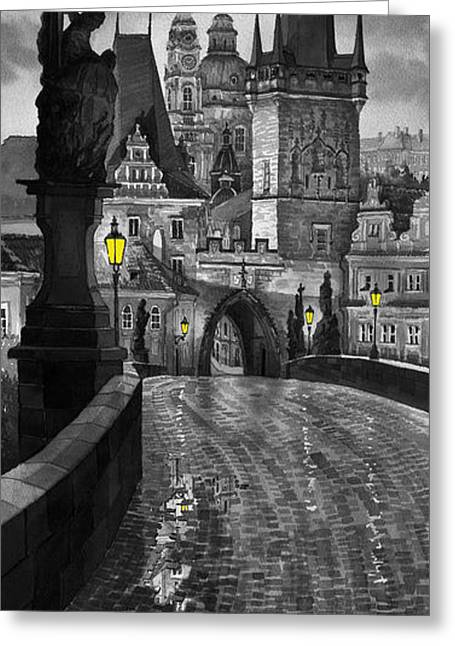 Bw Prague Charles Bridge 03 Greeting Card by Yuriy  Shevchuk