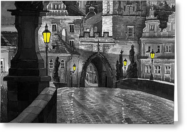 BW Prague Charles Bridge 03 Greeting Card by Yuriy  Shevchuk