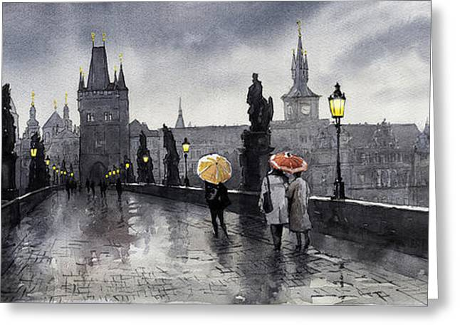 Cityscape Digital Art Greeting Cards - BW Prague Charles Bridge 05 Greeting Card by Yuriy  Shevchuk
