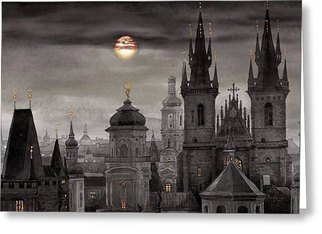 BW Prague City of hundres spiers Greeting Card by Yuriy  Shevchuk