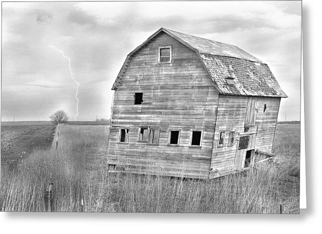 White Lightening Greeting Cards - BW Rustic Barn Lightning Strike Fine Art Photo Greeting Card by James BO  Insogna