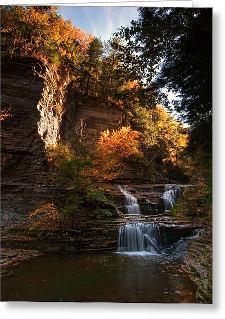 Buttermilk Falls Greeting Cards - By Dawns Early Light Greeting Card by Neil Shapiro