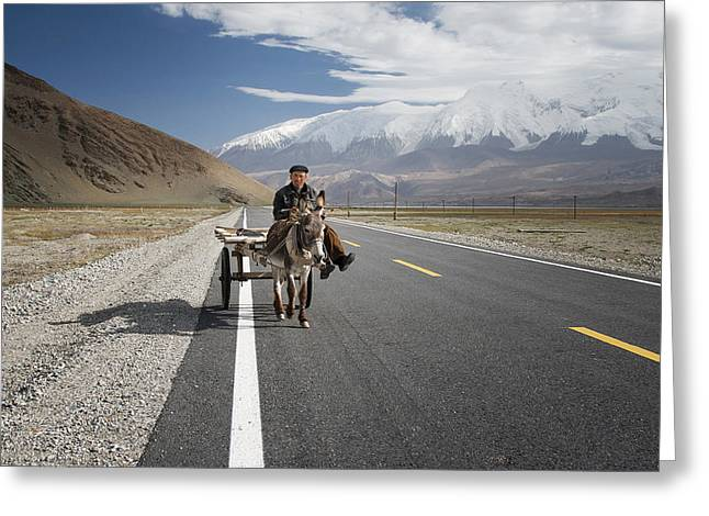 Highway Greeting Cards - By Donkey On The Karakorum Highway Greeting Card by Reggy