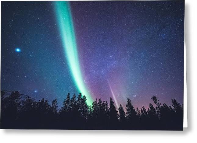 Milky Way Greeting Cards - By Jupiter Greeting Card by Tor-Ivar Naess