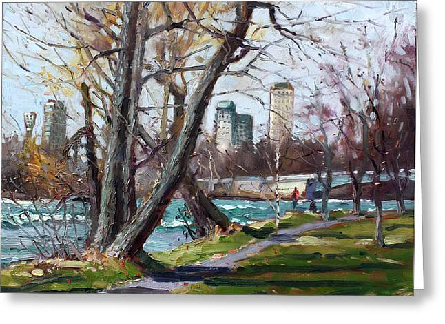 By Niagara River Greeting Card by Ylli Haruni