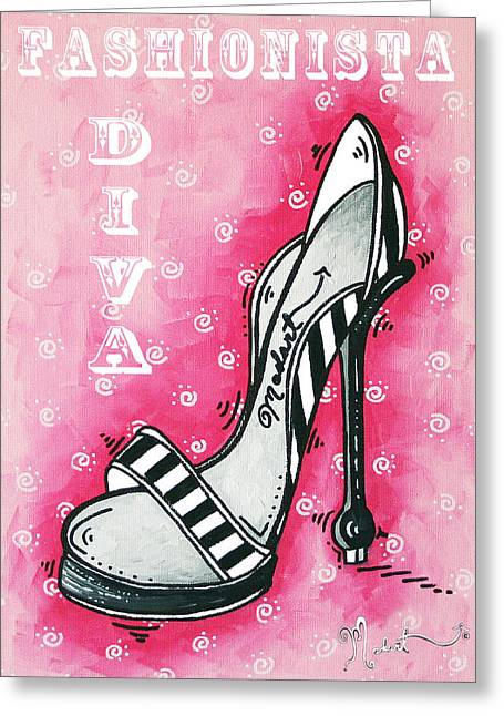 Fashionista Greeting Cards - By Pink Design by MADART Greeting Card by Megan Duncanson