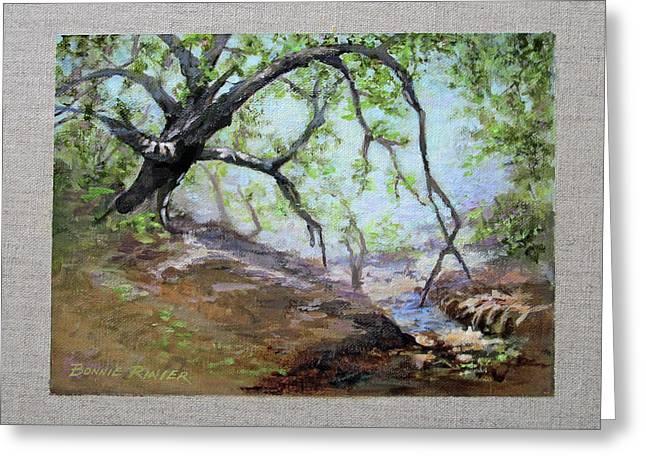 Oak Creek Greeting Cards - By the Creek Greeting Card by Bonnie Rinier