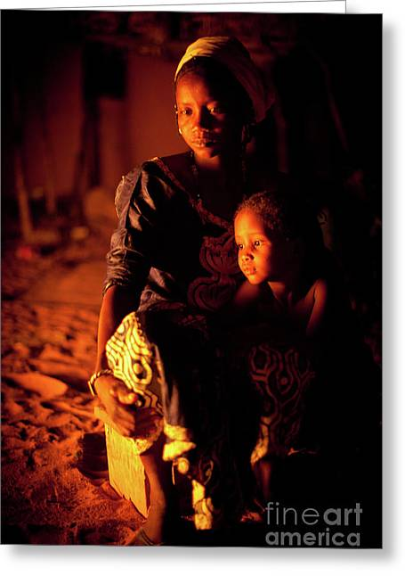 Africa Festival Greeting Cards - By the Fire II Greeting Card by Irene Abdou