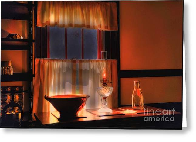Oil Lamp Greeting Cards - By The Light Greeting Card by Arnie Goldstein