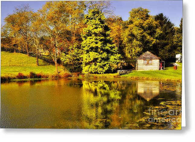 Rockbridge County Greeting Cards - By The Pond Greeting Card by Kathy Jennings