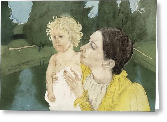 By The Pond Greeting Card by Mary Stevenson Cassatt