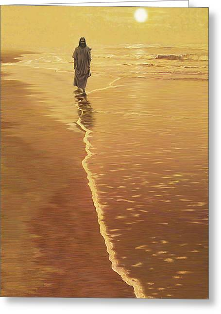 Religious Artist Greeting Cards - By The Sea Greeting Card by Larry Cole