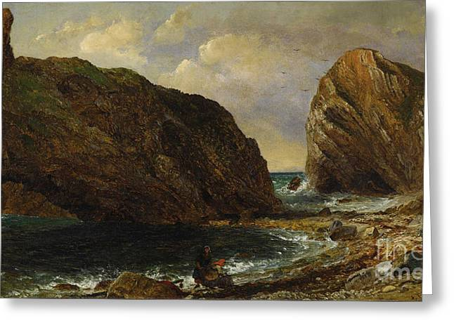 By The Sea Lulworth Greeting Card by Jasper Francis Cropsey