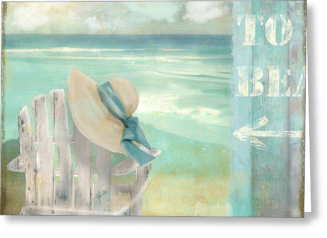 Sun Hat Digital Art Greeting Cards - By the Sea Greeting Card by Mindy Sommers