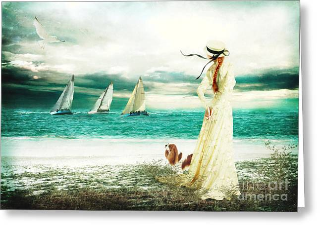 Romanticism Greeting Cards - By the Sea Greeting Card by Shanina Conway
