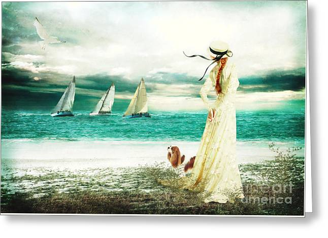 Yachting Greeting Cards - By the Sea Greeting Card by Shanina Conway