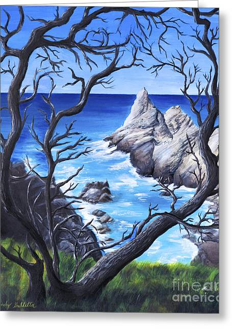 Cliff By The Sea Greeting Card by Wendy Galletta