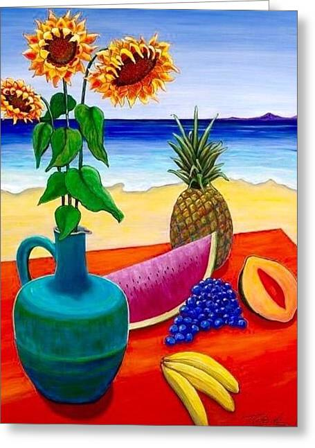 Blue Grapes Greeting Cards - By the Seaside Greeting Card by Merilee Tutcik