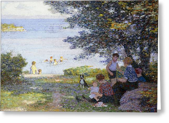 Sit-ins Greeting Cards - By the Water Greeting Card by Edward Henry Potthast