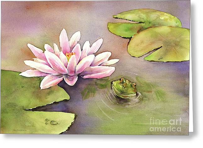 By The Waterlily Greeting Card by Amy Kirkpatrick