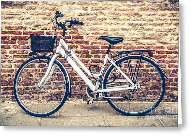 Bycicle Urban Canvas Red Brick Wall Prints Greeting Card by Luca Lorenzelli