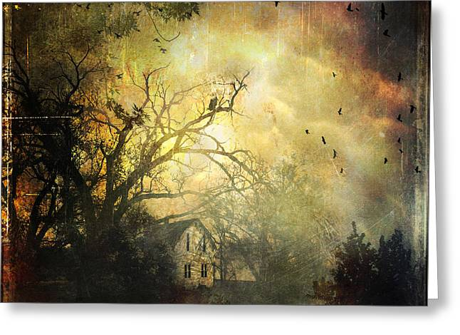 The Houses Greeting Cards - Bygone House On The Hill Greeting Card by Anna Surface