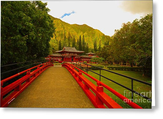 Byodo-in Temple Greeting Card by Cheryl Young