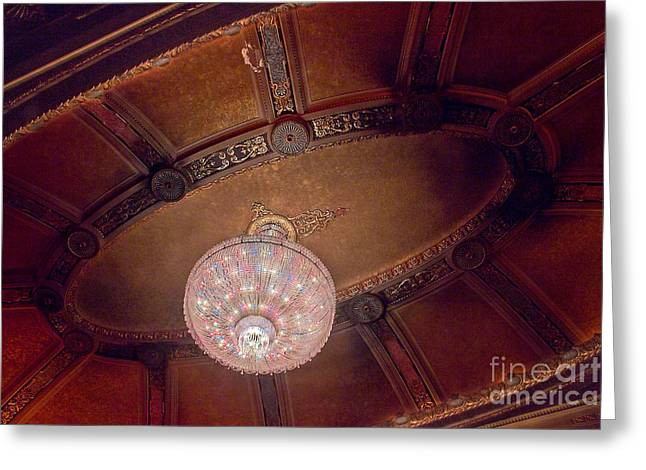 Architectural Treasure Greeting Cards - Byrd Theater Chandelier Greeting Card by Jemmy Archer