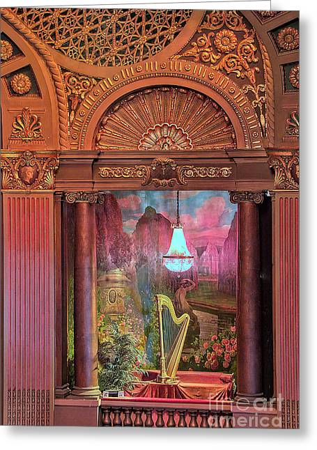 Architectural Treasure Greeting Cards - Byrd Theater Harp Opera Box Greeting Card by Jemmy Archer