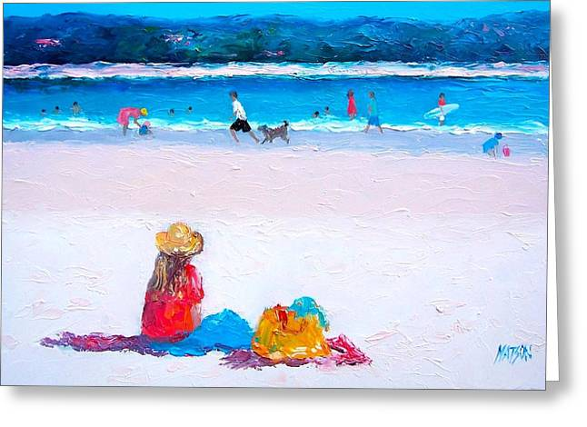 Dog Beach Print Greeting Cards - Byron Bay beach day Greeting Card by Jan Matson