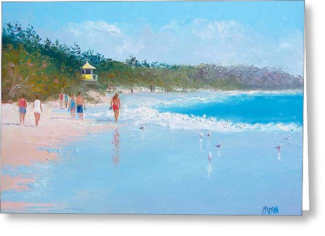 Byron Greeting Cards - Byron Bay Beach Walkers Greeting Card by Jan Matson