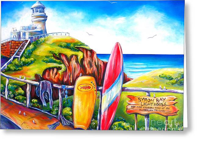 Surf Life Greeting Cards - Byron Bay Lighthouse Greeting Card by Deb Broughton