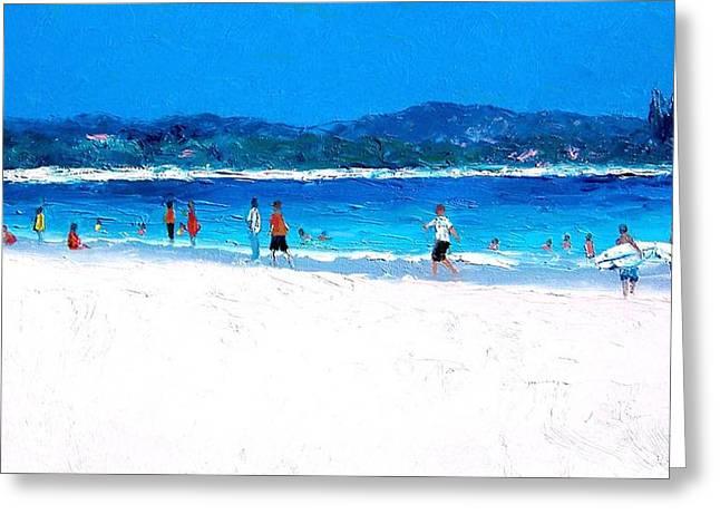 Seaside Greeting Cards - Byron Bay Surfers Greeting Card by Jan Matson