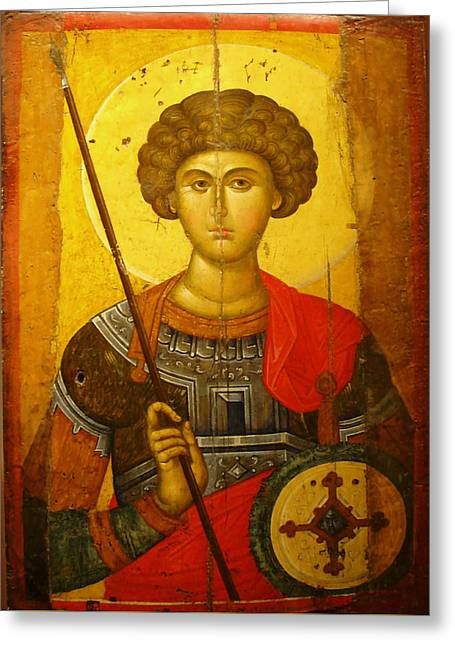 Weaponry Greeting Cards - Byzantine Knight Greeting Card by Ellen Henneke