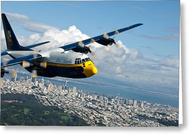 Happy Man Greeting Cards - C-130 Hercules flys over San Francisco  Greeting Card by Celestial Images