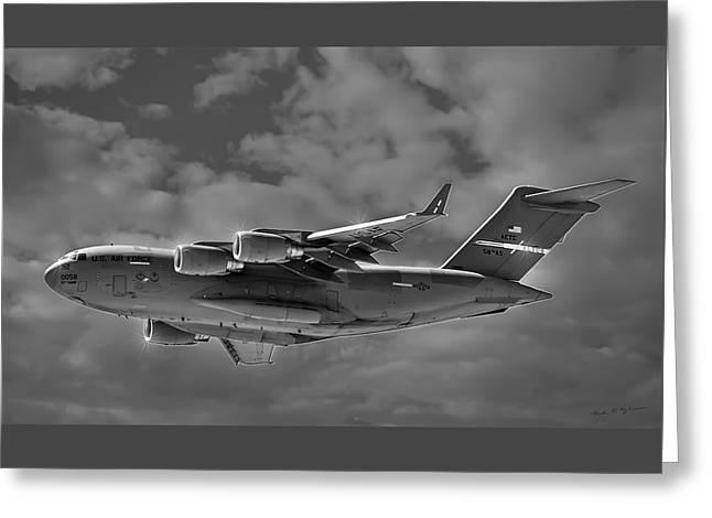 Jet Star Greeting Cards - C-17 Globemaster III BWS Greeting Card by Mark Myhaver