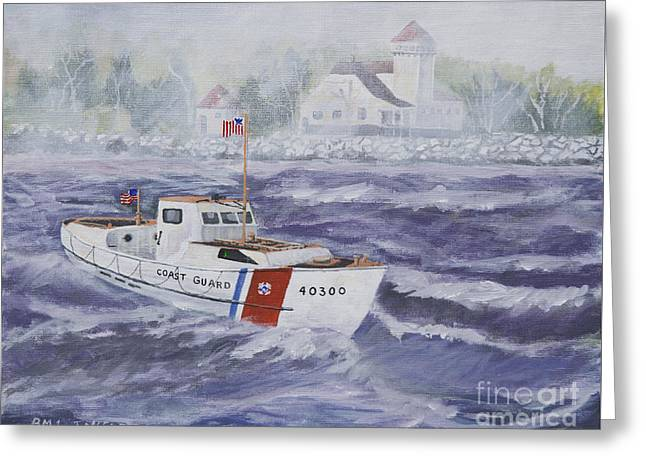 Mlb Paintings Greeting Cards - C G 40300 at Coast Guard Station Plum Island Greeting Card by Jerry McElroy