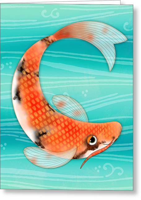 C Is For Cal The Curious Carp Greeting Card by Valerie Drake Lesiak