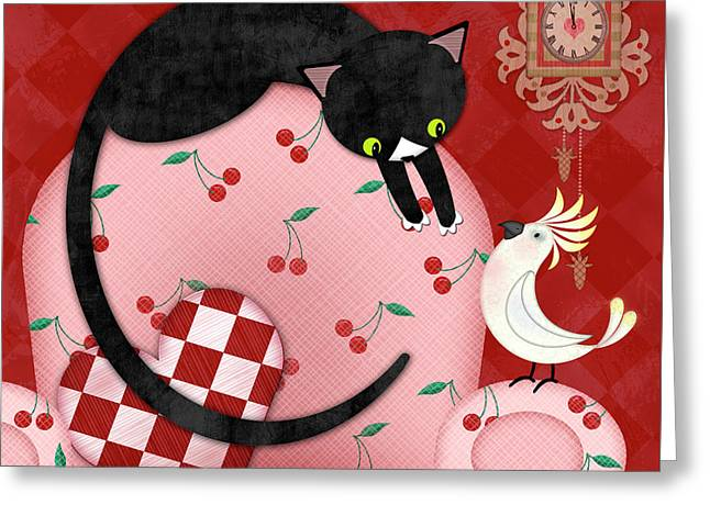 C Is For Cat, Cockatoo, And Coo Coo Clock Greeting Card by Valerie Drake Lesiak