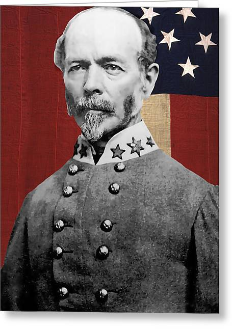 Confederate Flag Greeting Cards - C S A General Joseph E. Johnston  Greeting Card by Daniel Hagerman