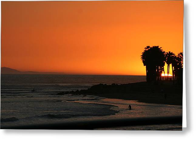 Ventura California Greeting Cards - C Street Sunset Greeting Card by Nep Toon