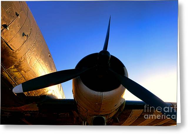 C47 Sunset Greeting Card by Olivier Le Queinec
