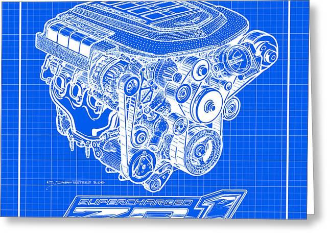 C6 Zr1 Corvette Ls9 Engine Blueprint Greeting Card by K Scott Teeters