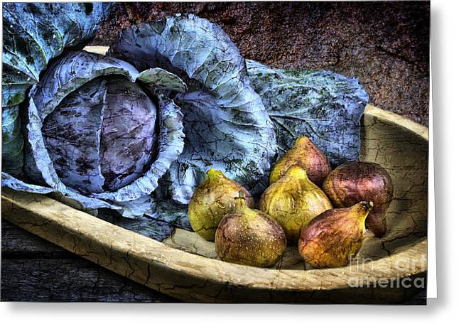 Wooden Bowls Greeting Cards - Cabbage and Figs Greeting Card by Sari Sauls
