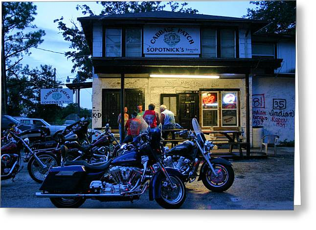Patch Greeting Cards - Cabbage Patch Bikers Bar Greeting Card by Kristin Elmquist