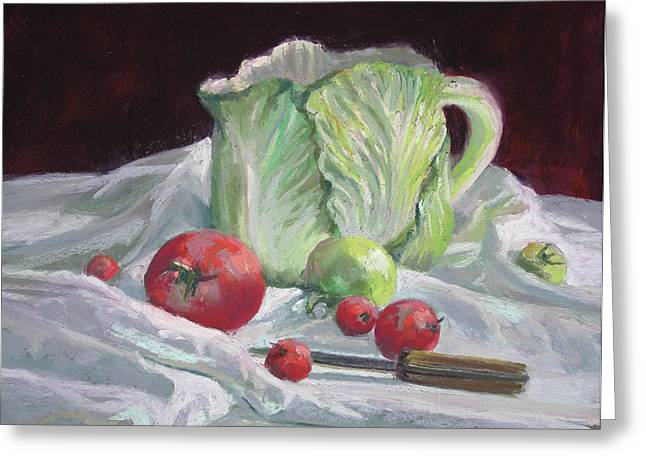 Tomato Pastels Greeting Cards - Cabbage Pitcher and Tomatoes Greeting Card by Mary Ann Cherry