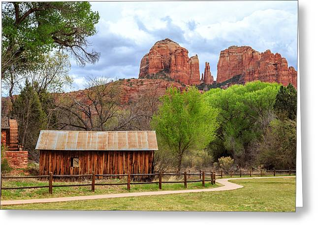 Cabin At Cathedral Rock Greeting Card by James Eddy