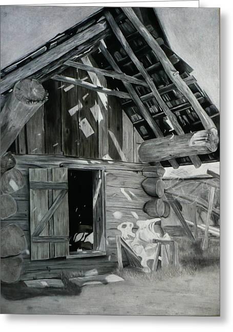 Barn Door Drawings Greeting Cards - Cabin Barn Greeting Card by Nicholas Nguyen