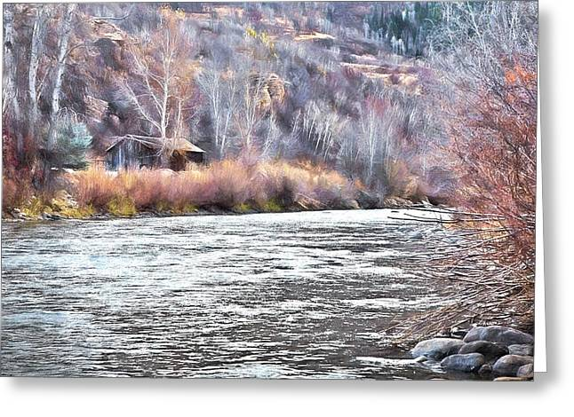Cabin By The River In Steamboat,co Greeting Card by James Steele