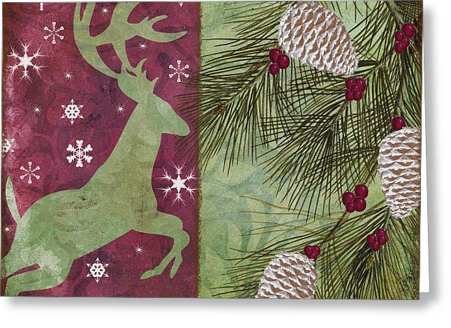 Mistletoe Greeting Cards - Cabin Christmas II Greeting Card by Mindy Sommers
